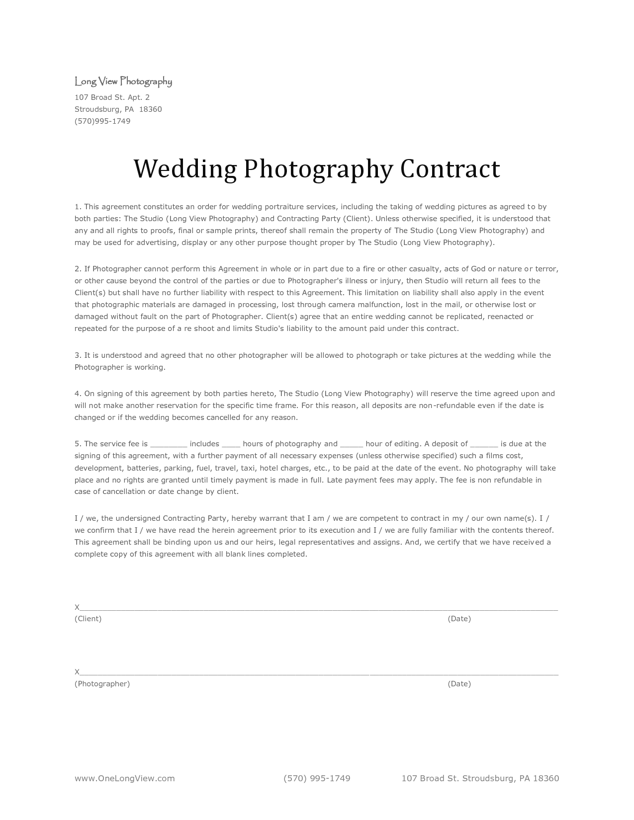 Photogapher Contract  Sample Wedding Photography Contract