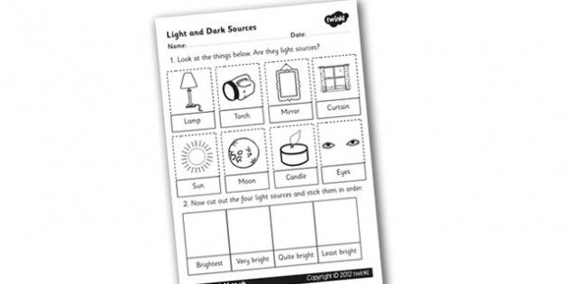 Light And Dark Sources Cut And Stick Worksheet Worksheet Cut And