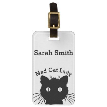 Mad Cat Lady Black Personnalised Bag Tag Cats Kitten Kitty Pet Love