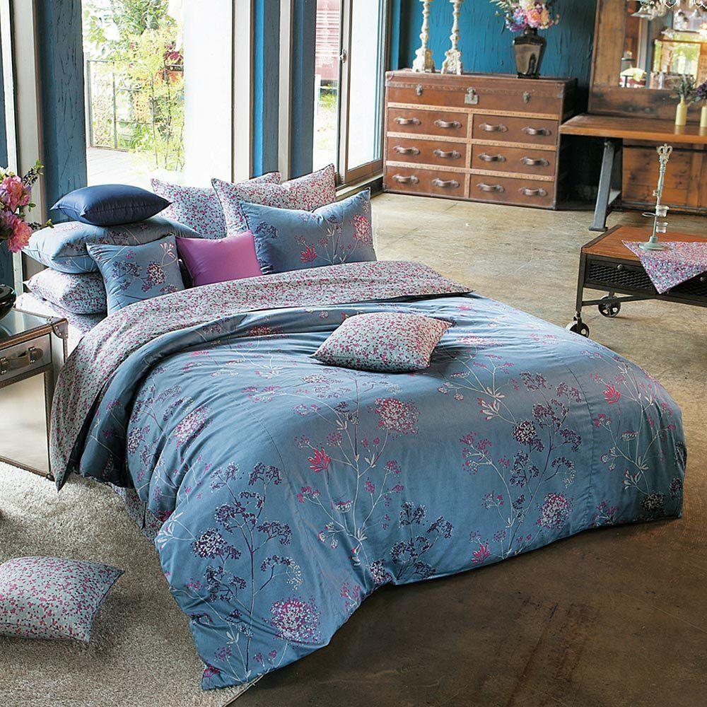 3 - Amazon.com: 1100TC Sateen Blue, Purple & Hot Pink Floral Duvet ...