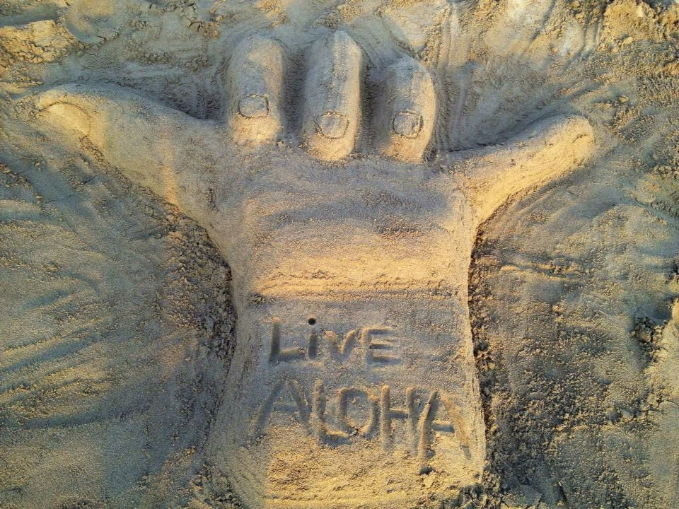 Sand sculpture - the hand sign you will see from time to