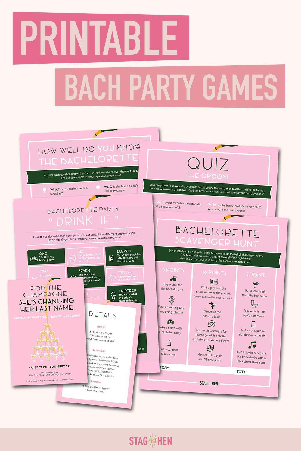 Champagne Campaign Bachelorette Party Games Printable