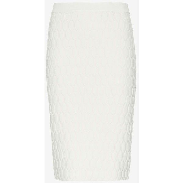 Jonathan Simkhai Quilted Knit Pencil Skirt ($299) ❤ liked on Polyvore featuring skirts, white, jonathan simkhai, knit skirt, knee length pencil skirt, white knee length skirt and white knee length pencil skirt