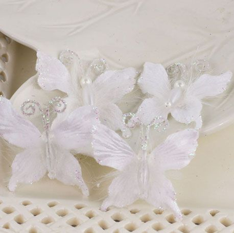 Prima - Mariposa Collection - Fabric Butterfly Embellishments - Frost at Scrapbook.com $4.99