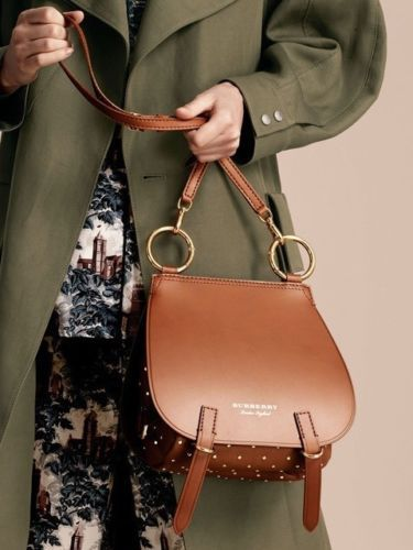 f1ba9800f84 NWT Burberry Bridle Saddle Bag Tan Riveted Leather Gold Tone Hardware