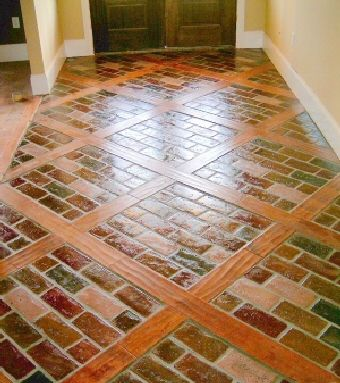 Wood Inlay with Runningbond Brick Pavers