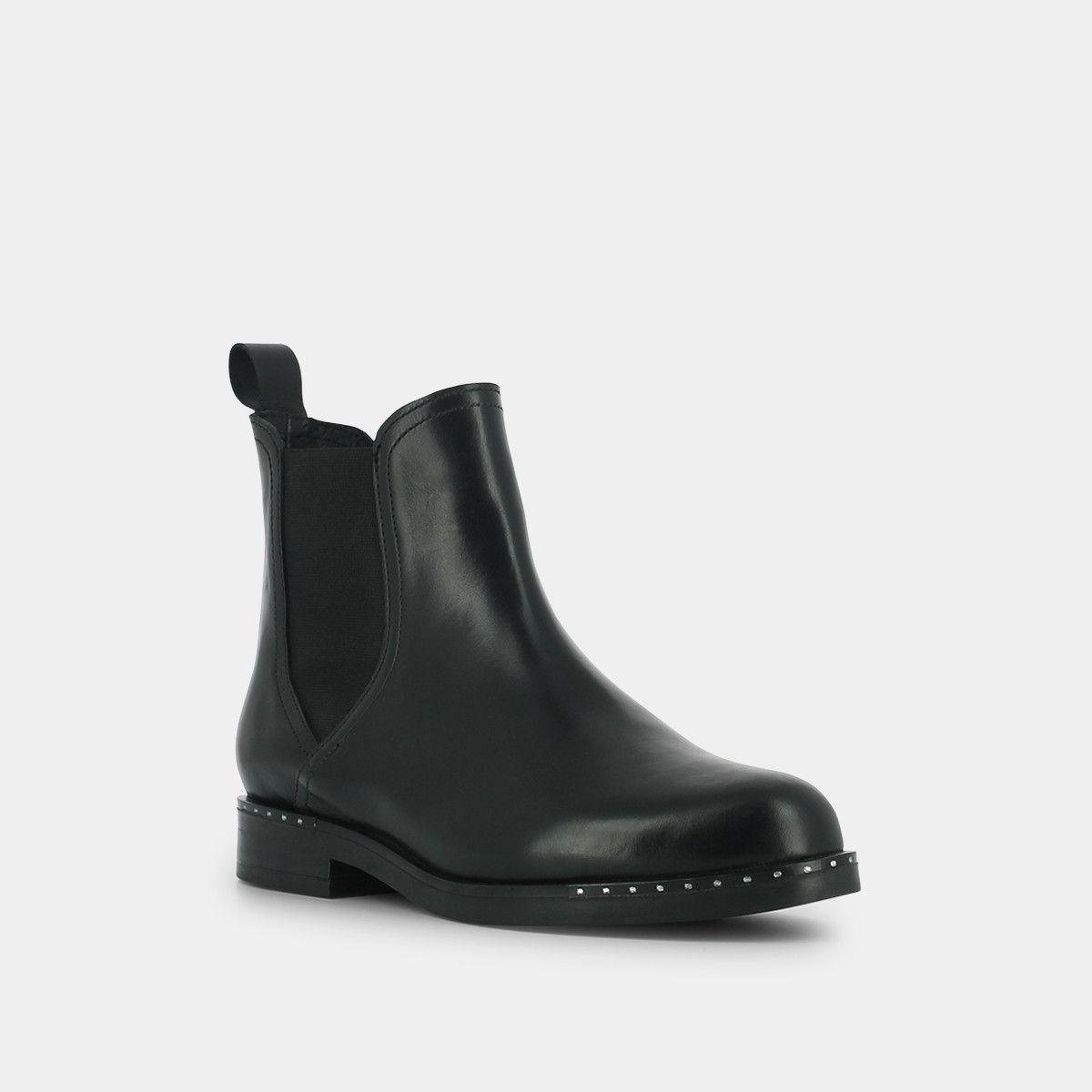 db88924d21b Boots à détails en métal en cuir noir - Jonak noir