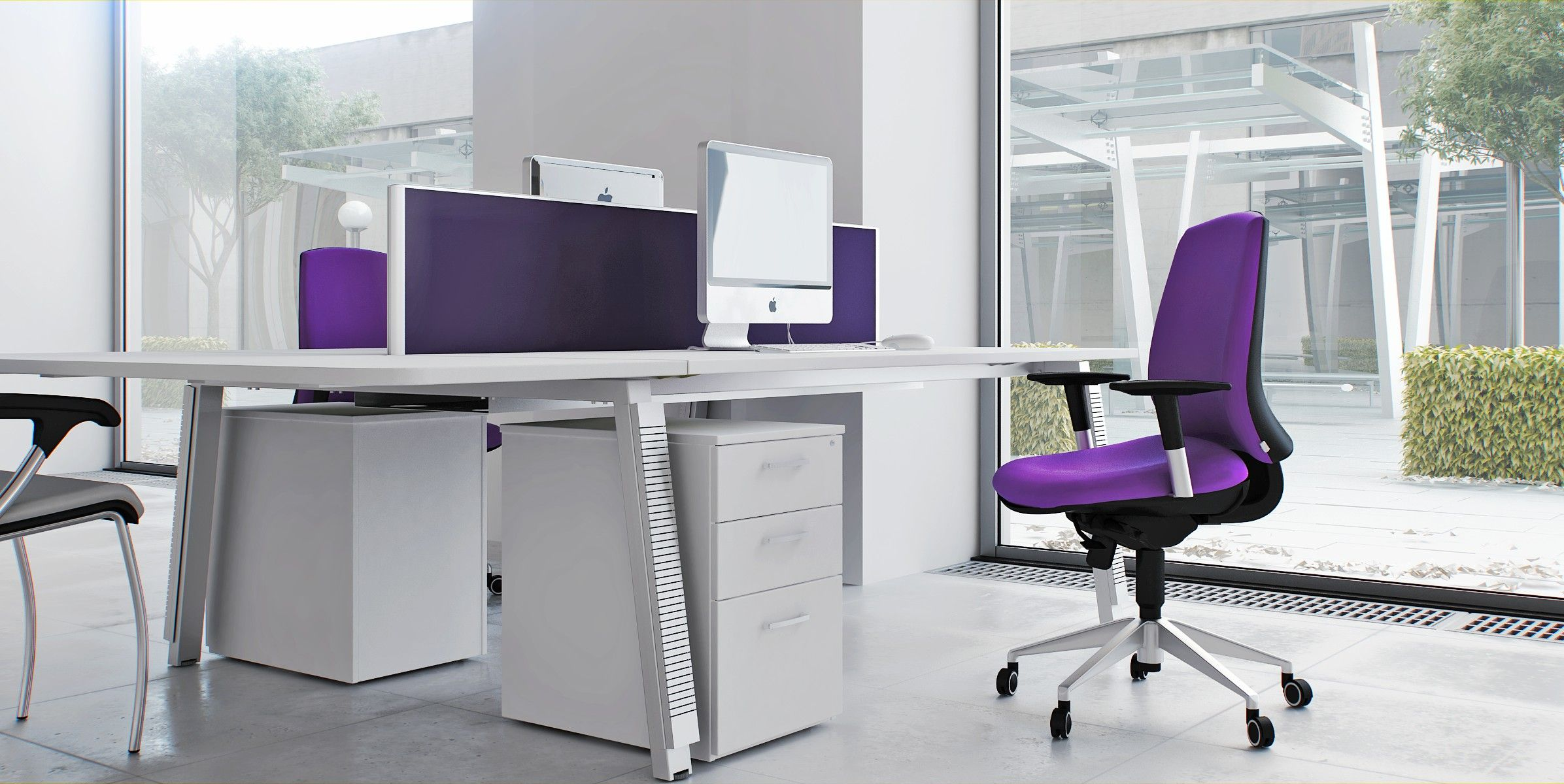 Captivating Modern Office Chair With Soft Purple Fabric Mixed With White Desk With Dark Border