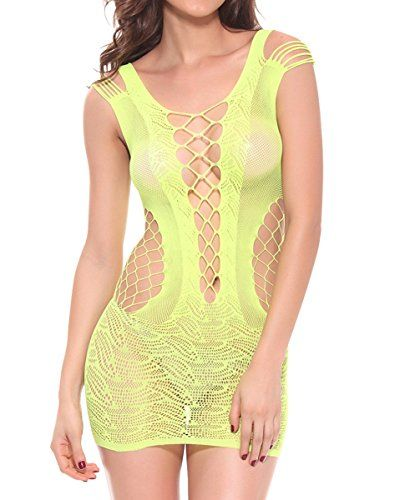 e252cfc7171c Sexy See Through Stretch Fishnet Sleepwear Lingerie Dress Yellow US XSS    To view further for this item