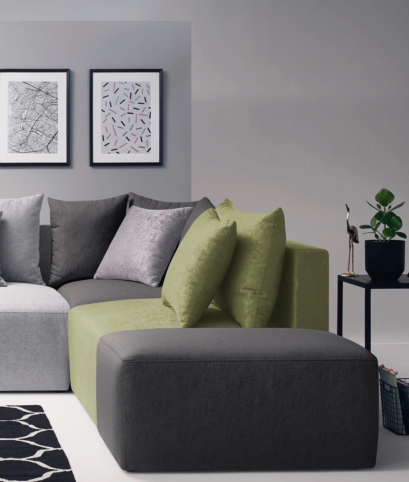 Metis Canapé Modulable Chauffeuse Verte Gris Clair Angle Gris Foncé Pouf  Moderne Design Confortable Table Noire
