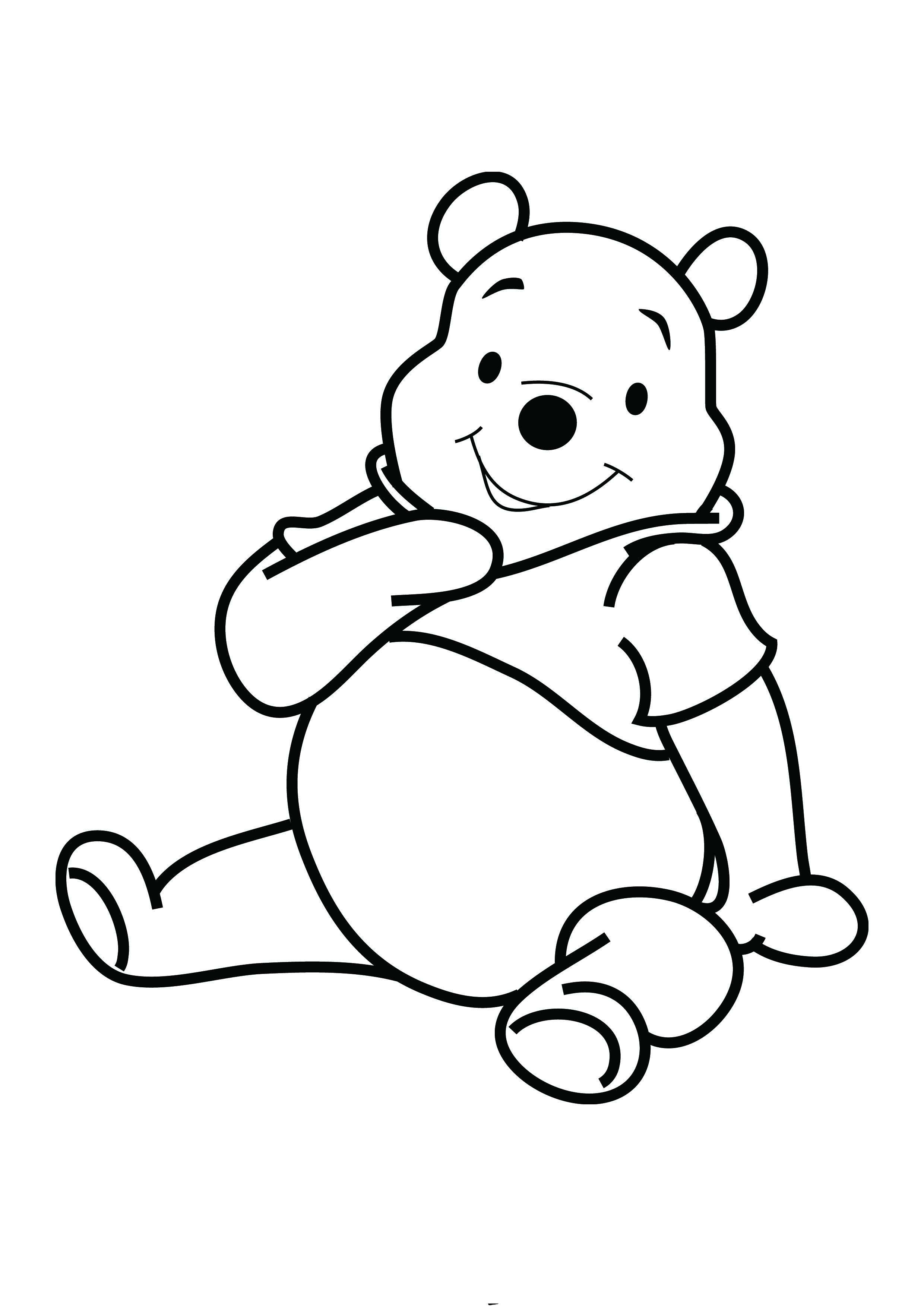 Winnie The Pooh Smile Coloring Picture For Kids With