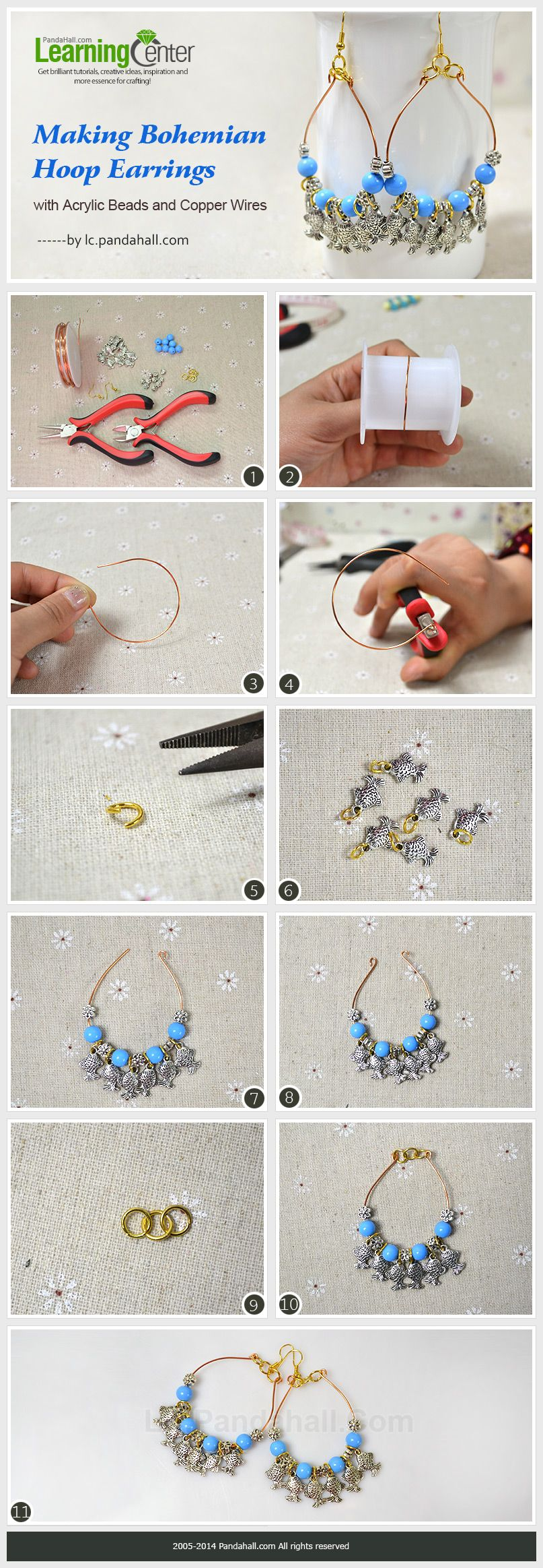 Making Bohemian Hoop Earrings with Acrylic Beads and Copper Wires ...