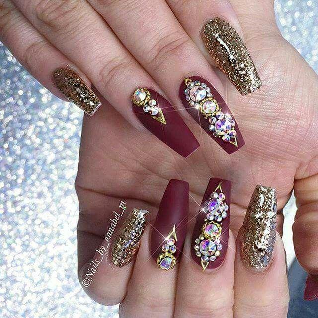 Coffin Nails With Diamonds Maroon Nails Diamond Nails Burgundy Nails