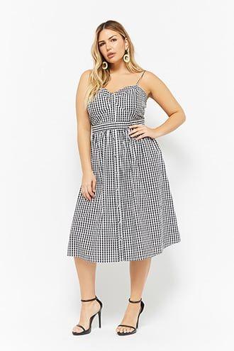 a4cbf198290 Plus Size Gingham Button-Front Cami Dress