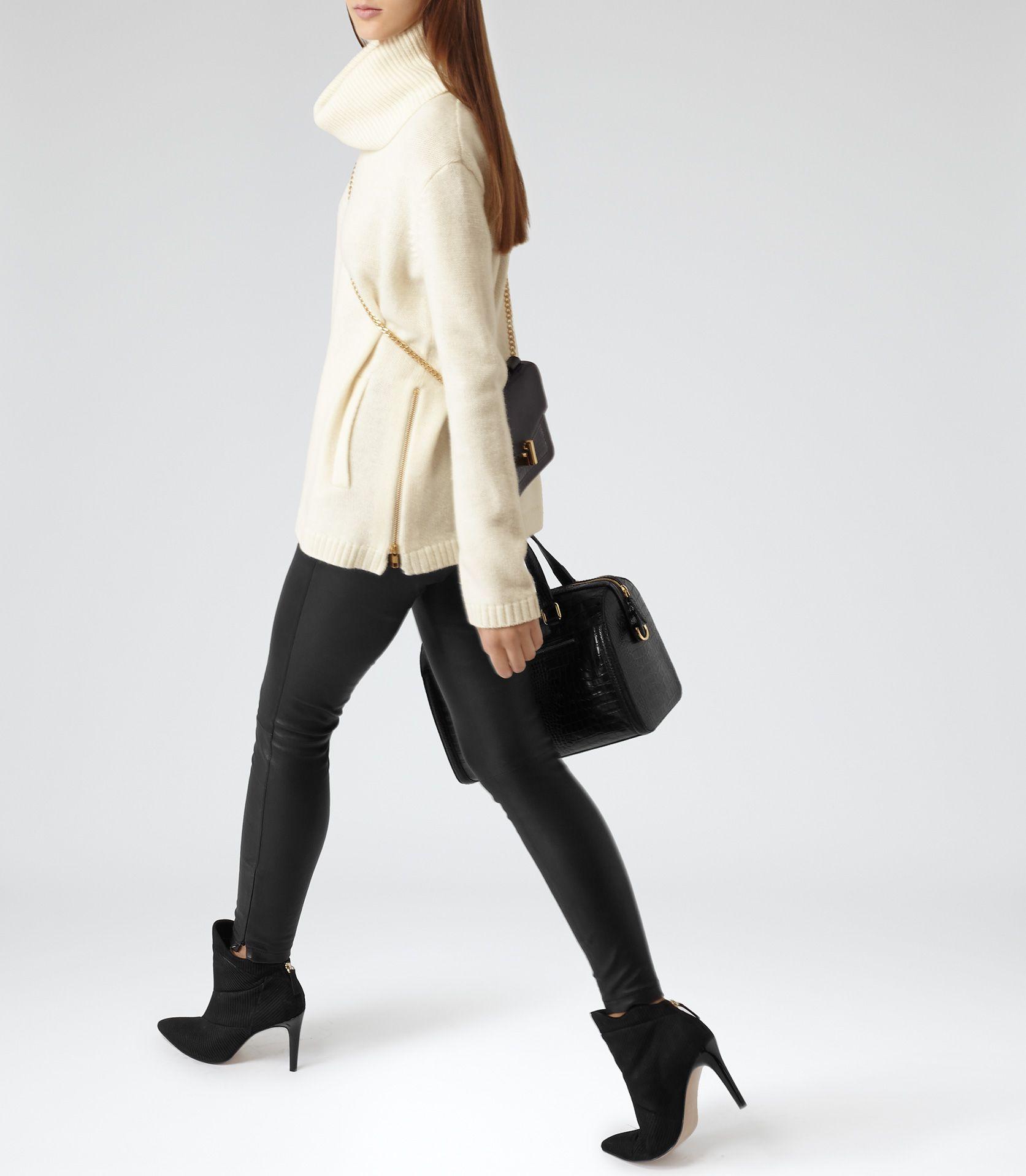 Ladies leather gloves asda - Womens Chalk Embellished Roll Neck Jumper Reiss Malin