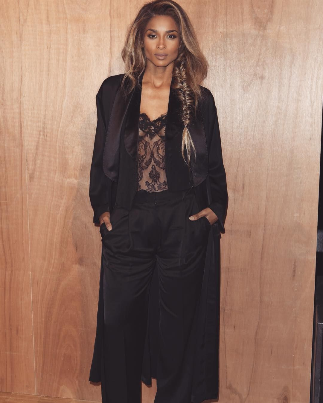 """""""Ciara giving us some major lace, silk and braid inspo @ Givenchy"""""""
