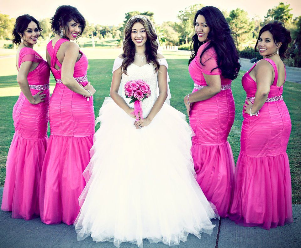 Mermaid Pink Bridesmaid dresses | Pink Dresses | Pinterest