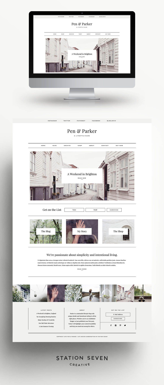 Parker - A Minimalist Theme | Webseite, Broschüren-Layout und Bewerbung