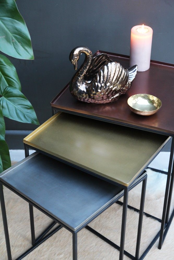 Square Tray Enamel Nesting Tables Set Of 3 Copper Brass