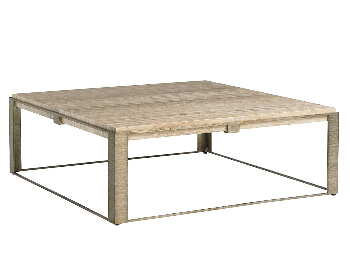 Stone Canyon Tail Table This Is Really Pretty In Person A 48 Inch Square Silver Travertine Top Nests Inside Hand Burnished Leaf Frame To Create