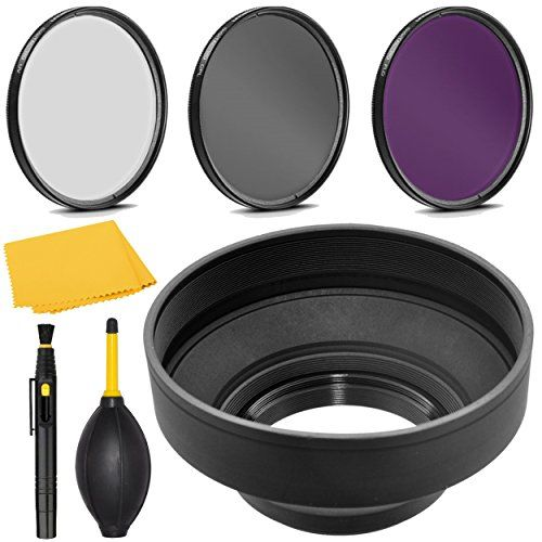 UltraPro Deluxe Accessory Set Included 49mm Digital Tulip Flower Lens Hood Bundle for Select Sony E-Series Digital Cameras