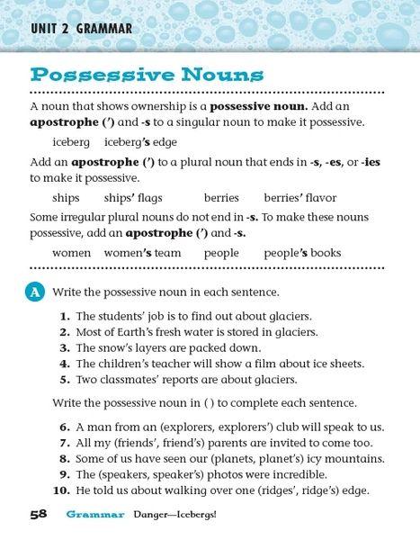 Unit 2 Grammar Possessive Nouns 3rd Grade Worksheet Possessive Nouns Worksheets Possessive Nouns Nouns Worksheet Possessive nouns worksheets grade