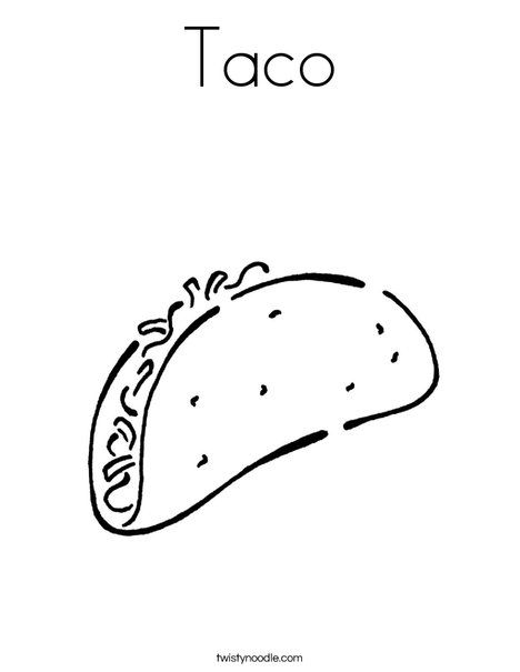 Taco Coloring Page Twisty Noodle Coloring Pages For Kids