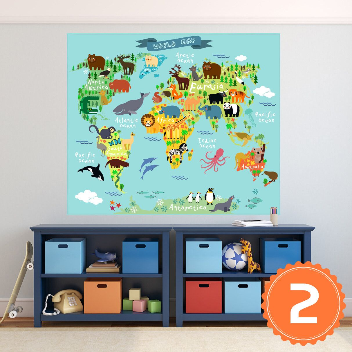 World map poster decal mural sticker wall vinyl or fabric animals world map poster decal mural sticker wall vinyl or fabric animals world map peel and stick gumiabroncs Gallery