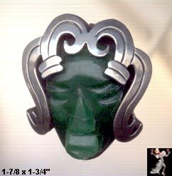 Vintage Mexican Silver Green Onyx Carved Face w Headdress PIn Brooch