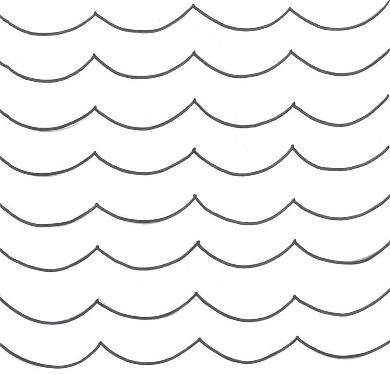 Ocean Wave Template - Ocean wave pattern Use the printable outline