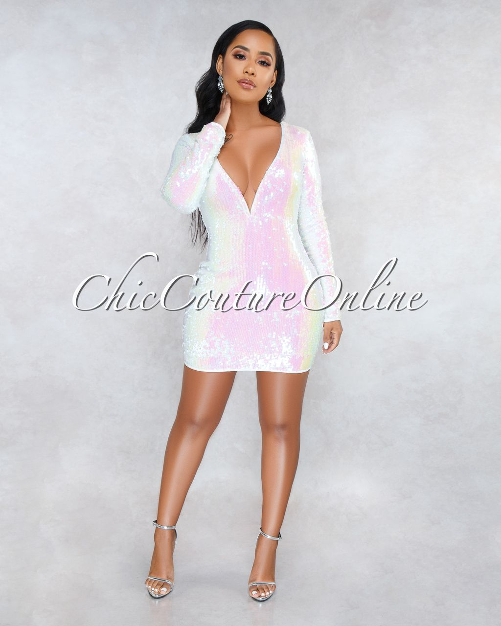 a81f3c2ea1ce Chic Couture Online - Lisbon Ivory Iridescent Sequins Long Sleeves Dress