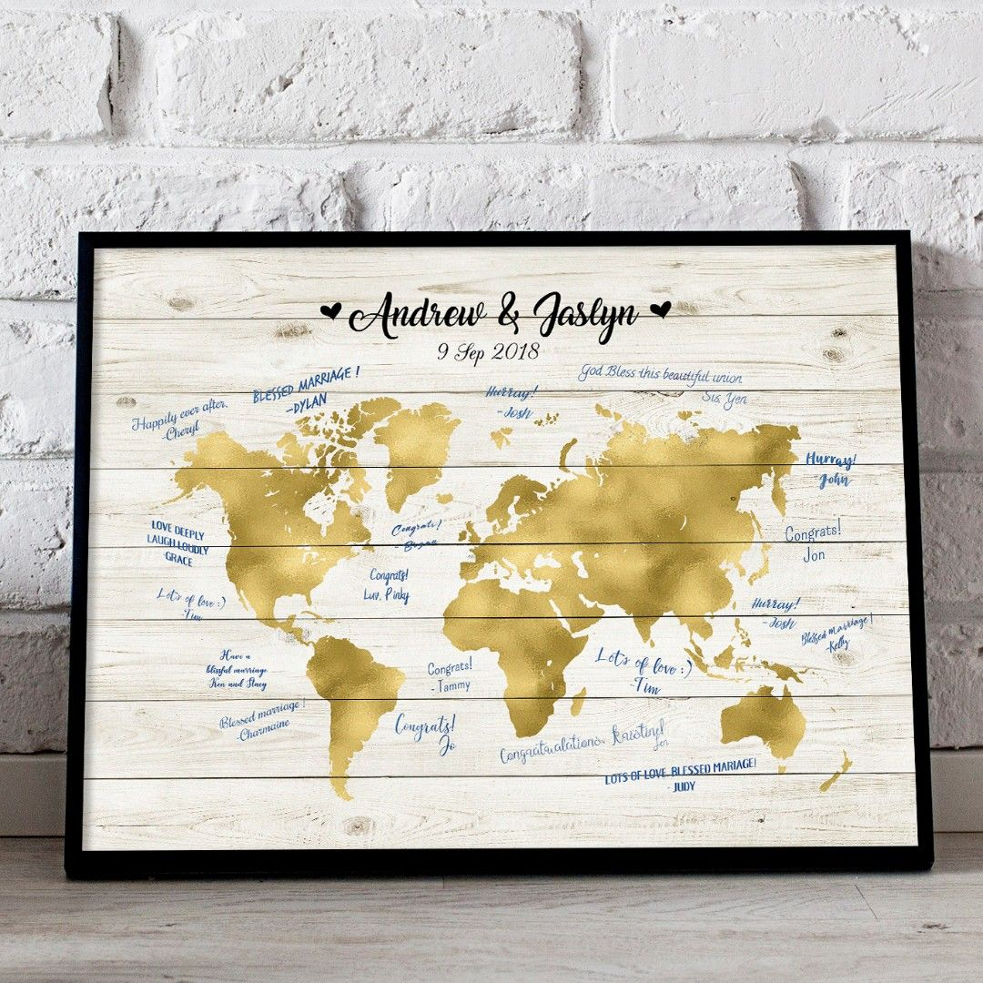 Somegoodwords wedding guest book alternative world map rustic