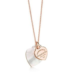 Return To Tiffany Double Heart Tag Pendant Heart Pendant Gold Gold Necklace