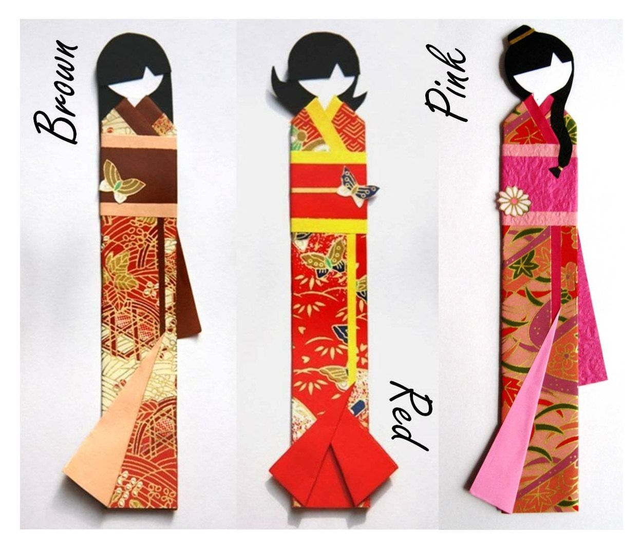 Japanese origami doll bookmarks in various colours. $4.00 ... - photo#47