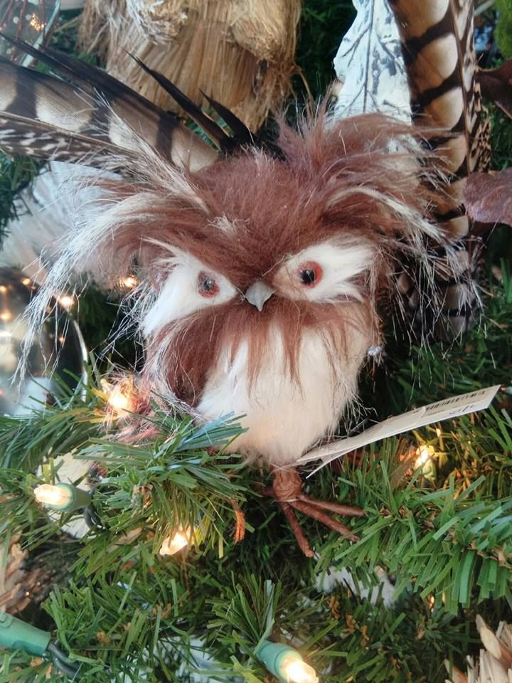 Fluffy owl from Whimsical Woodland tree 2015 Christmas