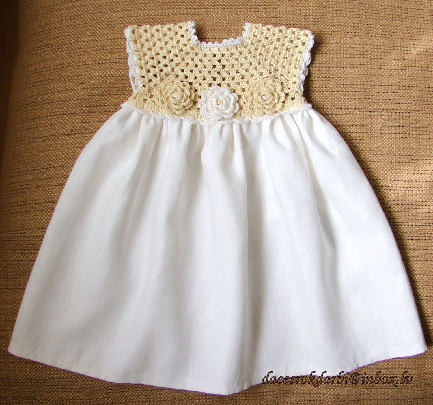 Linen crochet spring / summer dress for the baby girl by Dachuks ...