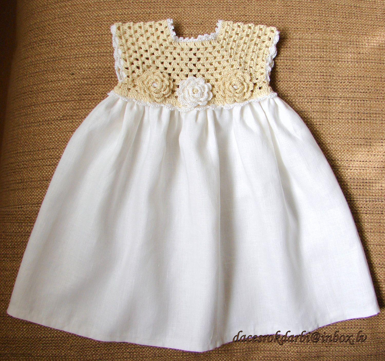 Linen crochet spring summer dress for the baby girl by Dachuks