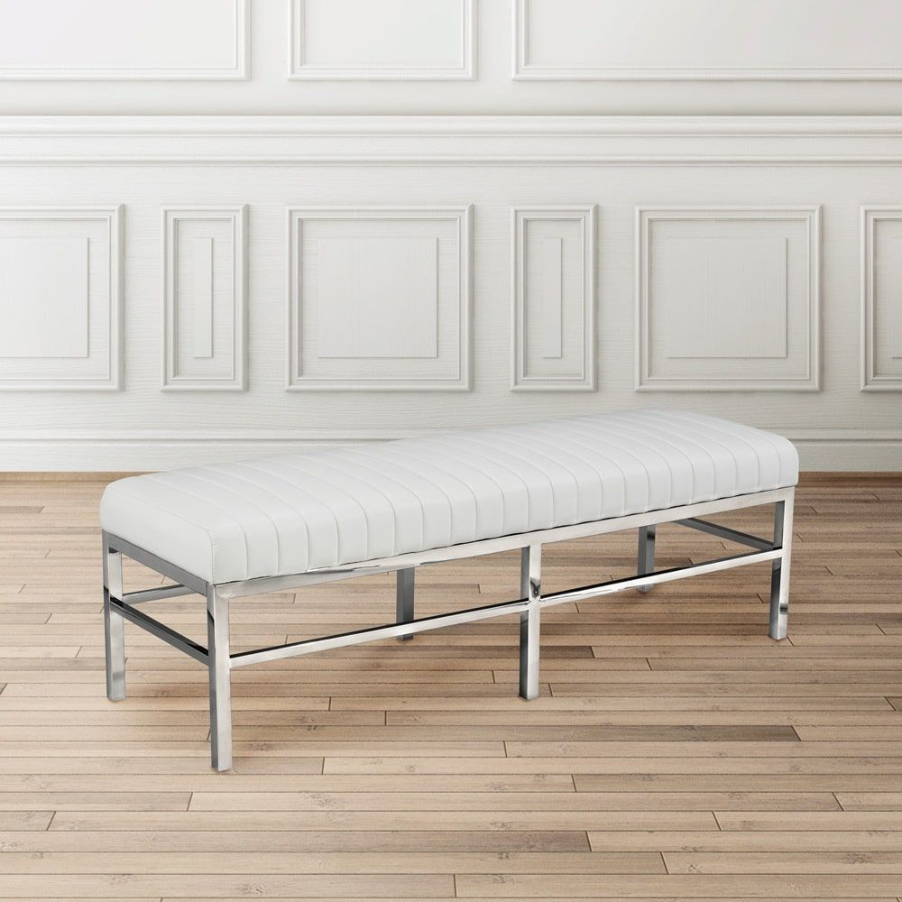 Uptown Club Madison bench in polished steel with Faux Leather