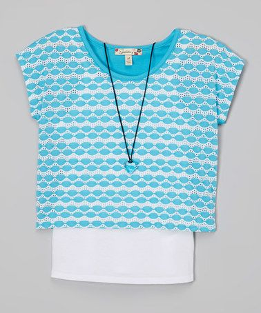 Another great find on #zulily! Turquoise & White Lace Layered Top & Necklace #zulilyfinds