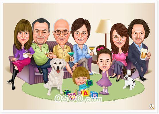 Family Relatives Caricatures Family Cartoon Caricature Cartoon