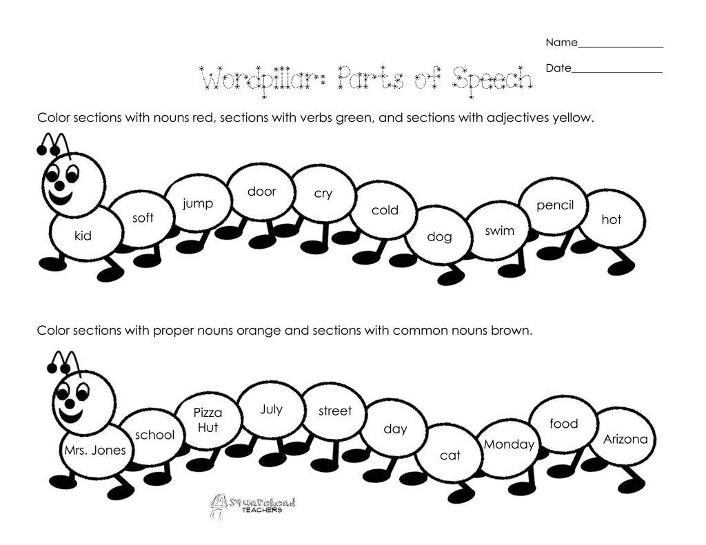Wordpillar Parts Of Speech Free Worksheet Educational Worksheets Free Worksheets For Kids Fun Worksheets [ 791 x 1024 Pixel ]