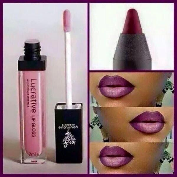 Youniques lipgloss and lip pencil makes the perfect ombré lip