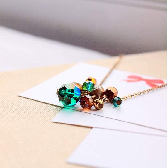 Emerald and orange Long necklace