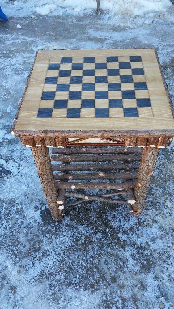 Log Furniture Rustic Cedar and Birch Bark Checker Board
