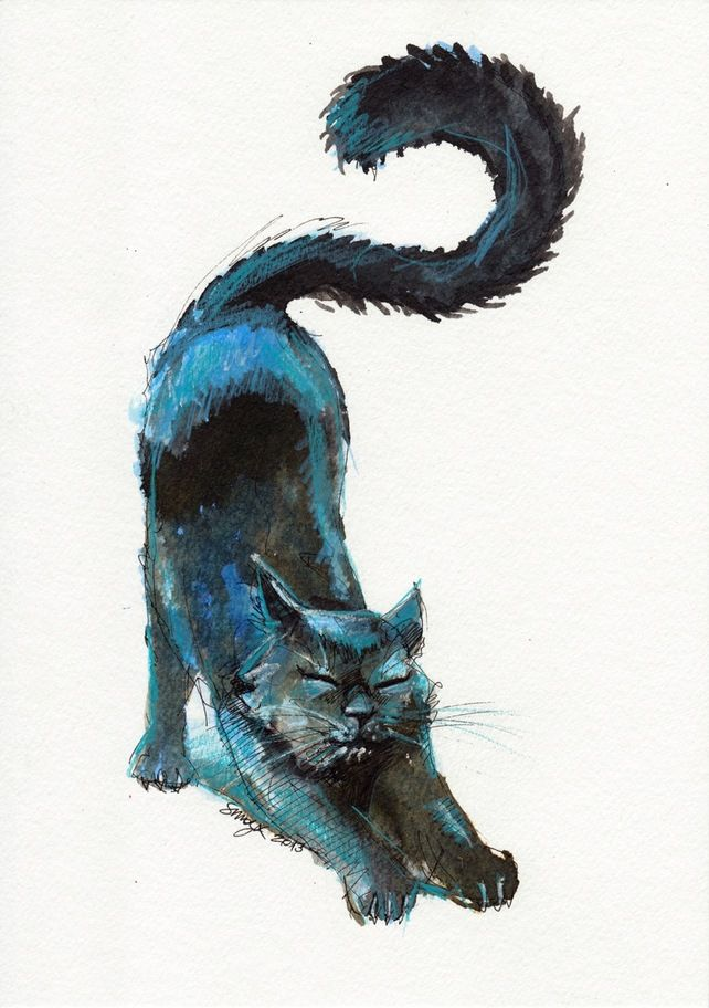 Original Ink and Pencil Drawing . Cute Black Blue Cat Stretching £20.00