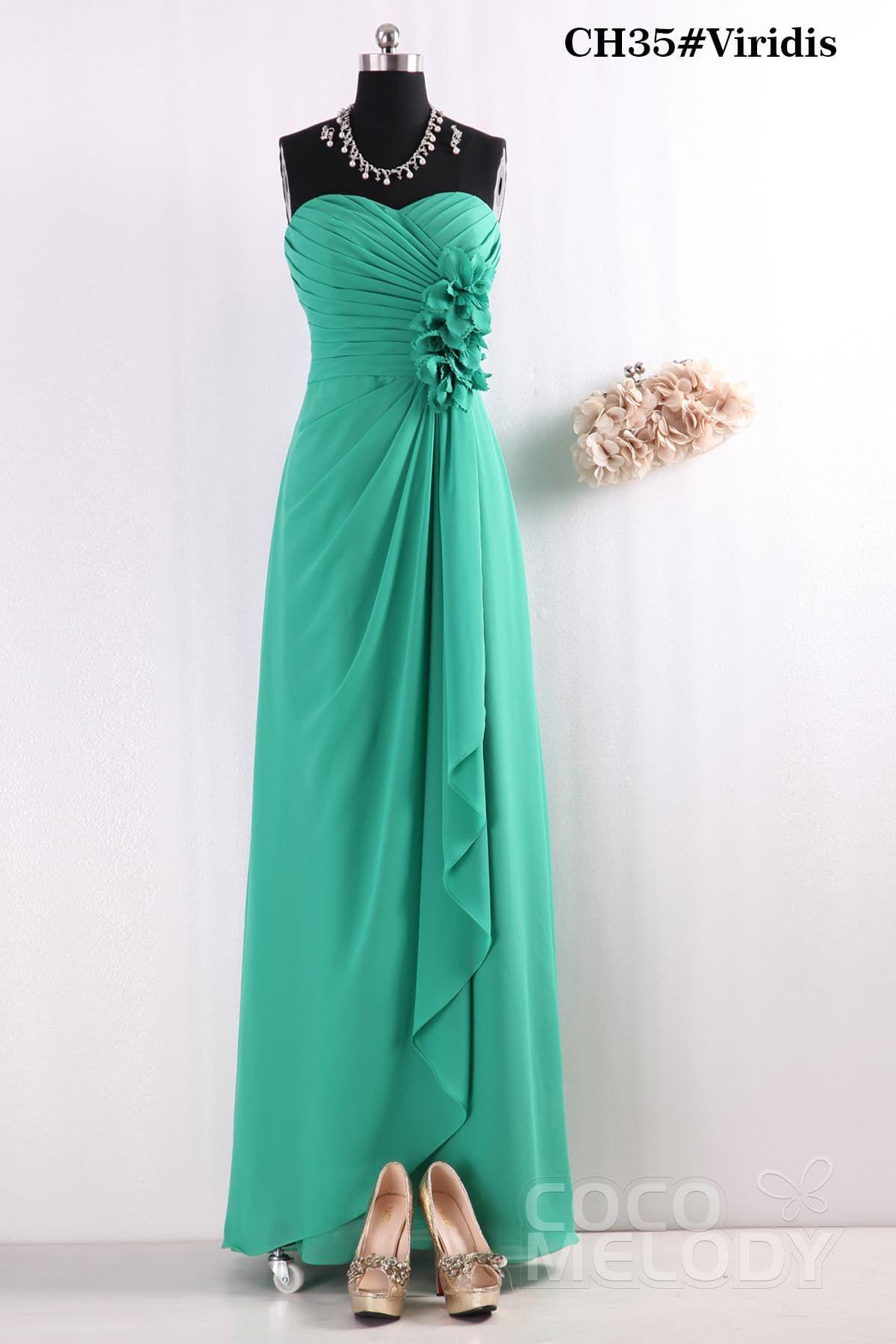 Fantastic Sheath-Column Sweetheart Floor Length Viridis Chiffon Bridesmaids Dress COSF14002