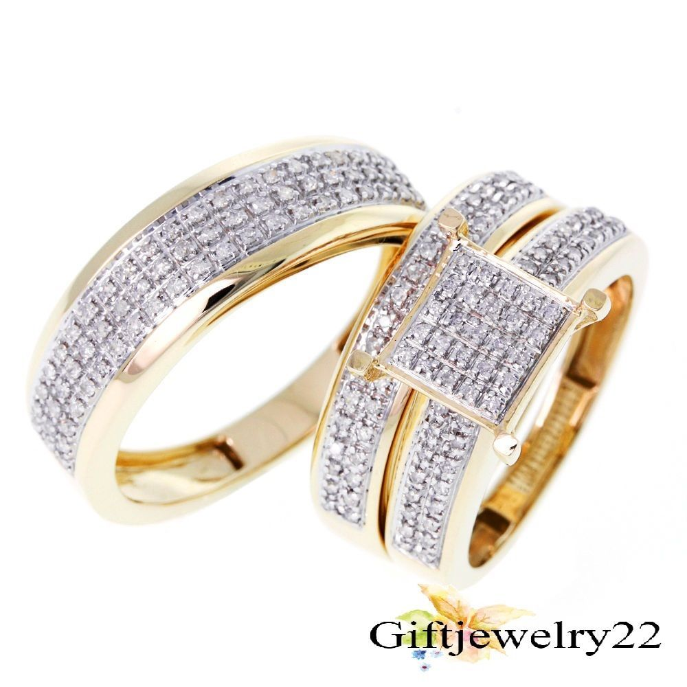 His Hers Bridal 3 Piece 14K Gold Plated Round Cut Diamond Wedding Trio Ring Sets