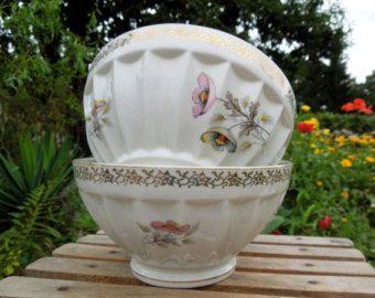 set of 2 cafe au lait bowls, coffee bowl, french vintage, flower, tea, hot chocolate, petit dejeuner, housewares, country