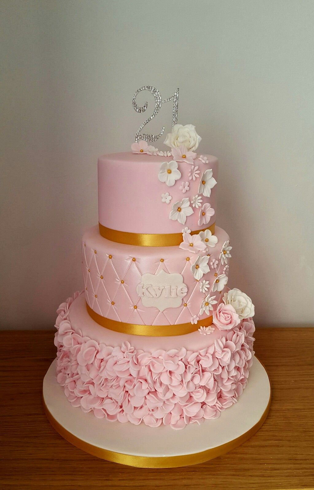 21st birthday cake with ruffles and flowers | Taylormade cakes and ...