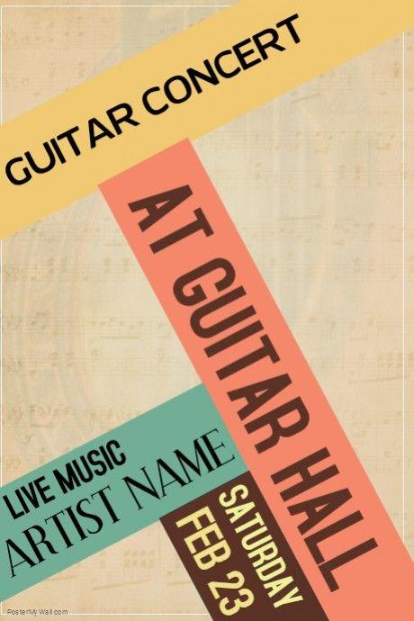Customize this guitar concert vintage retro colors live concert ...